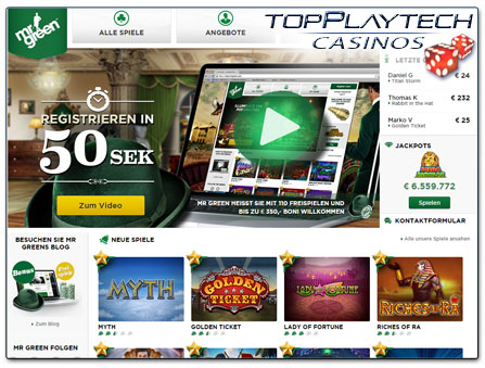 Mr Green Casino Webseite